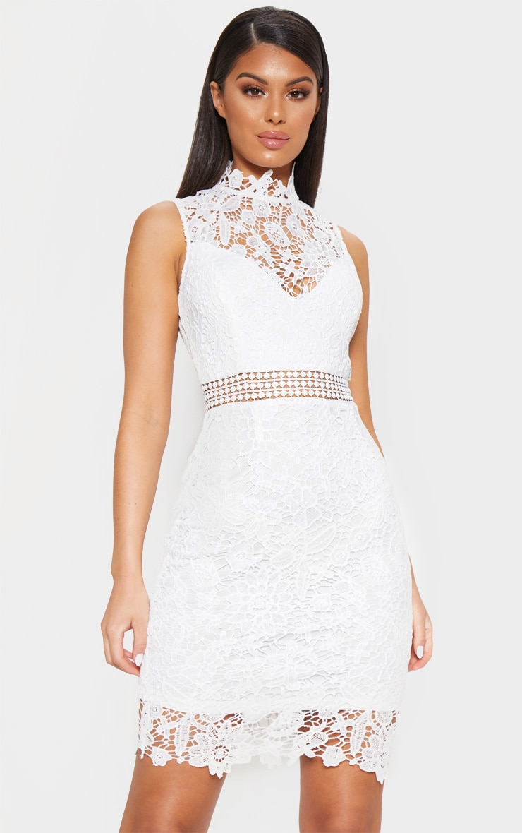 8850accd6217 White Lace High Neck Sleeveless Bodycon Dress image 1