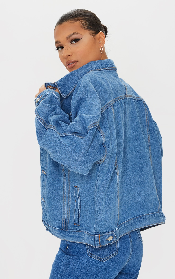 Mid Wash Drop Shoulder Oversized Denim Jacket 2