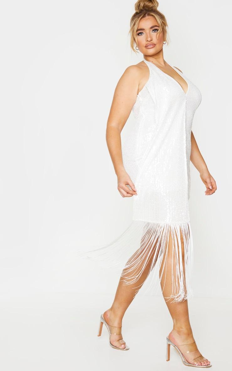 Plus Cream Sequin Halterneck Drape Bodycon Dress 3