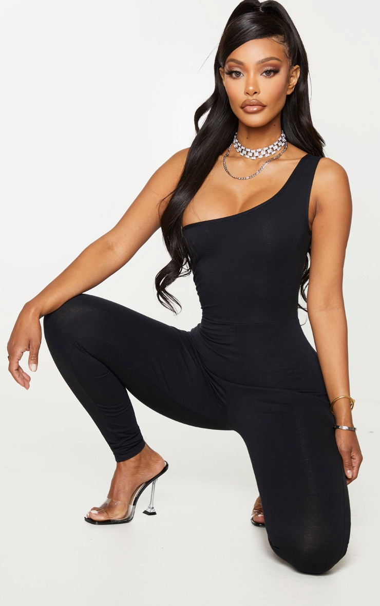 Shape Black Cotton One Shoulder Jumpsuit 1