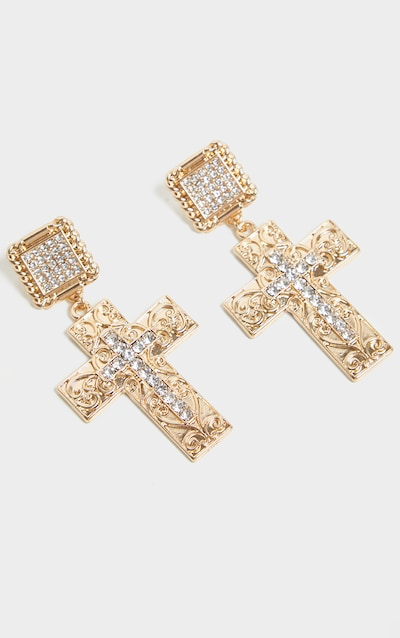 Gold Diamante Cross Drop Earring