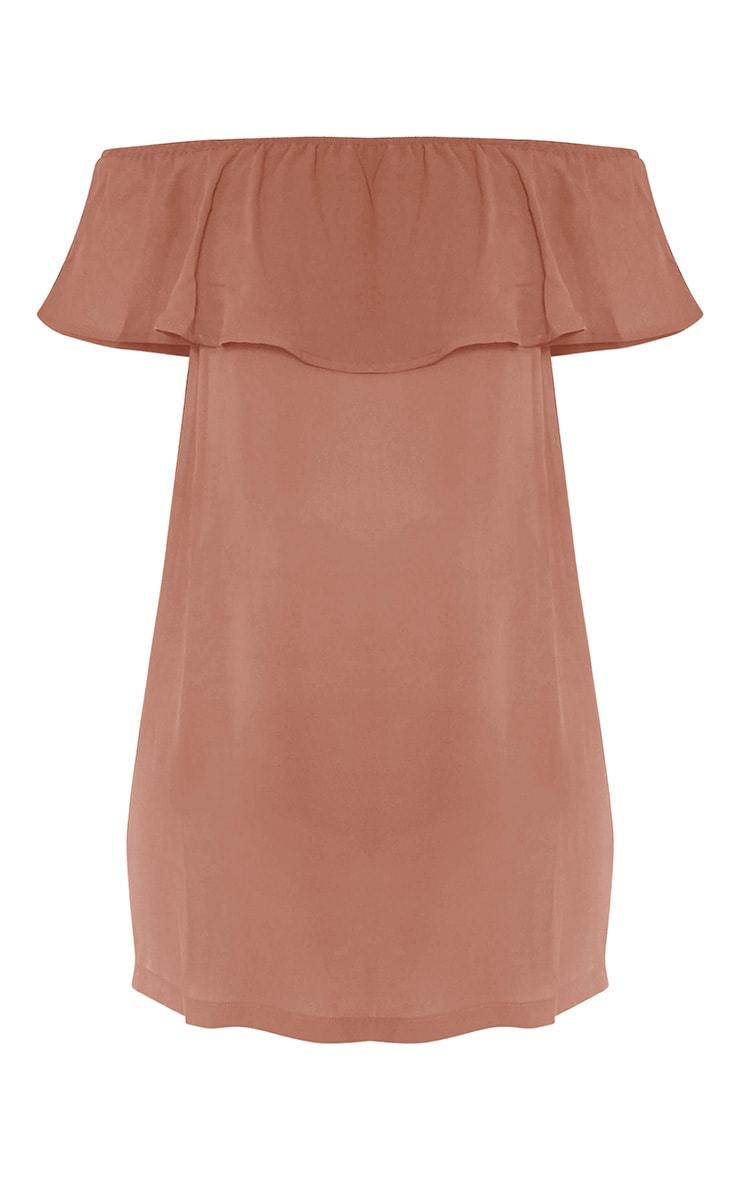 Poppy Camel Bardot Chiffon Mini Dress 5