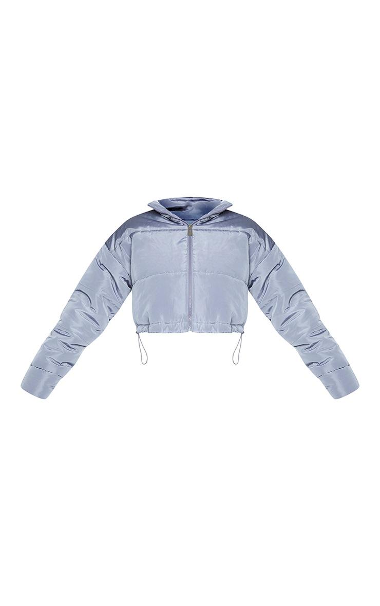 Grey Nylon Super Cropped Toggle Hem Puffer Jacket 5