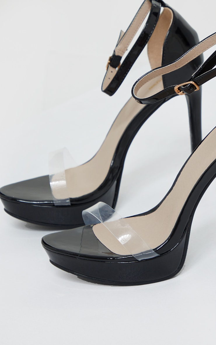 Black Clear Strap Platform Heeled Sandals 4