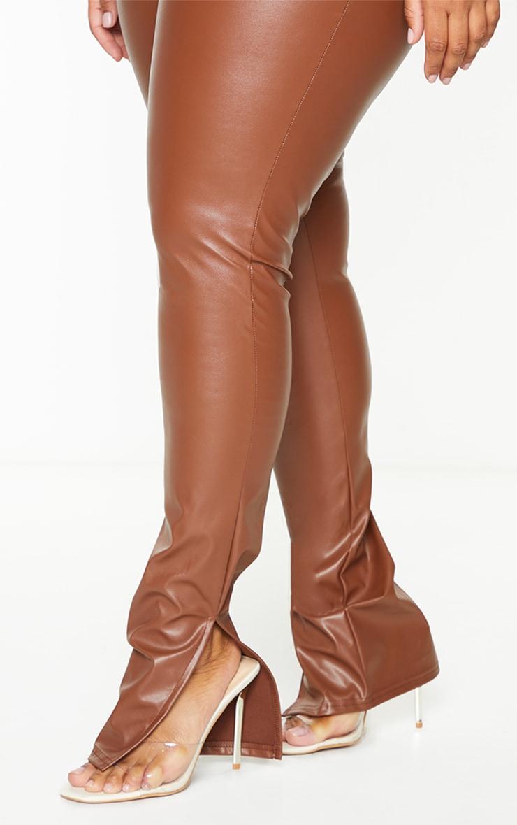 Plus Tan PU Split Hem Pants 4