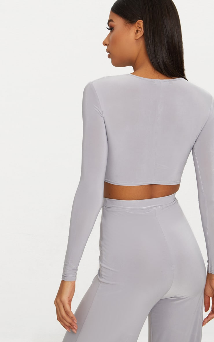 Ice Grey Slinky Knot Front Long Sleeve Crop Top 2