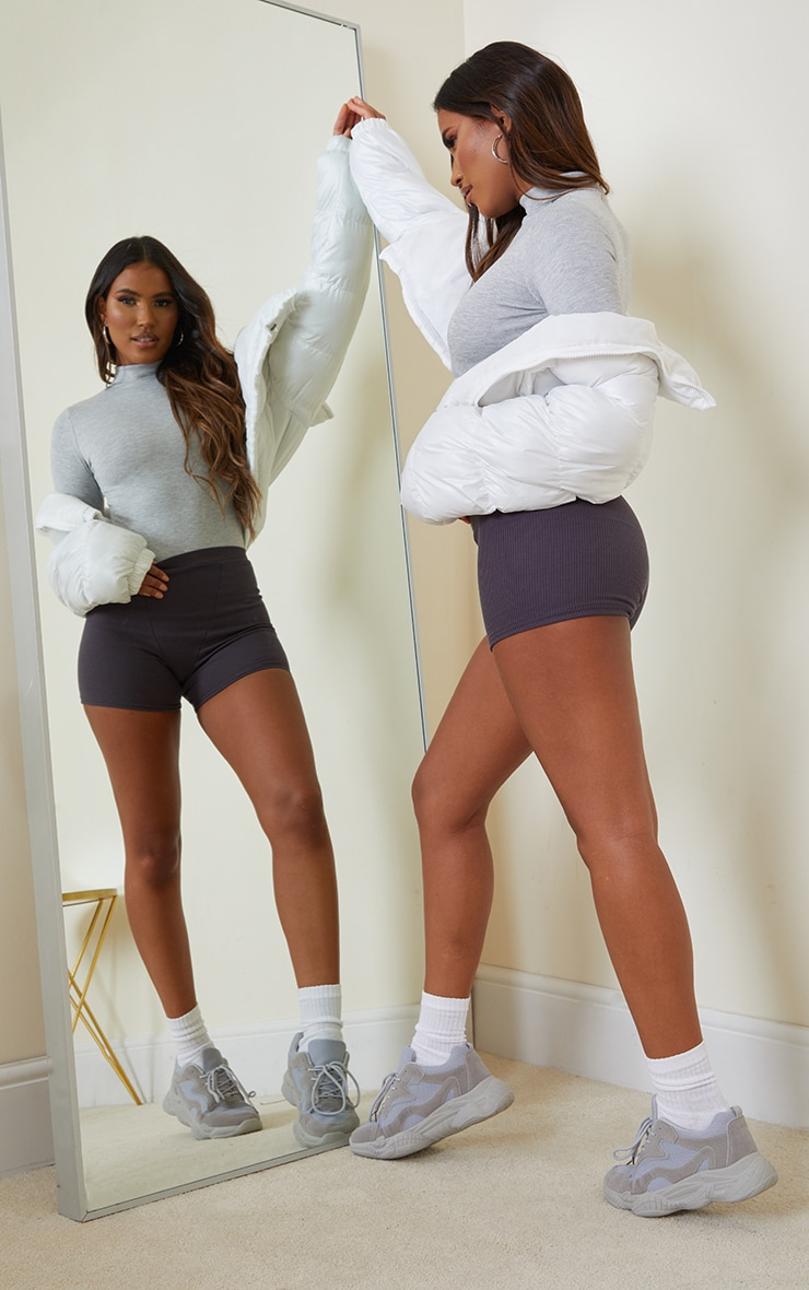 Grey Marl Long Sleeve High Neck Bodysuit 3