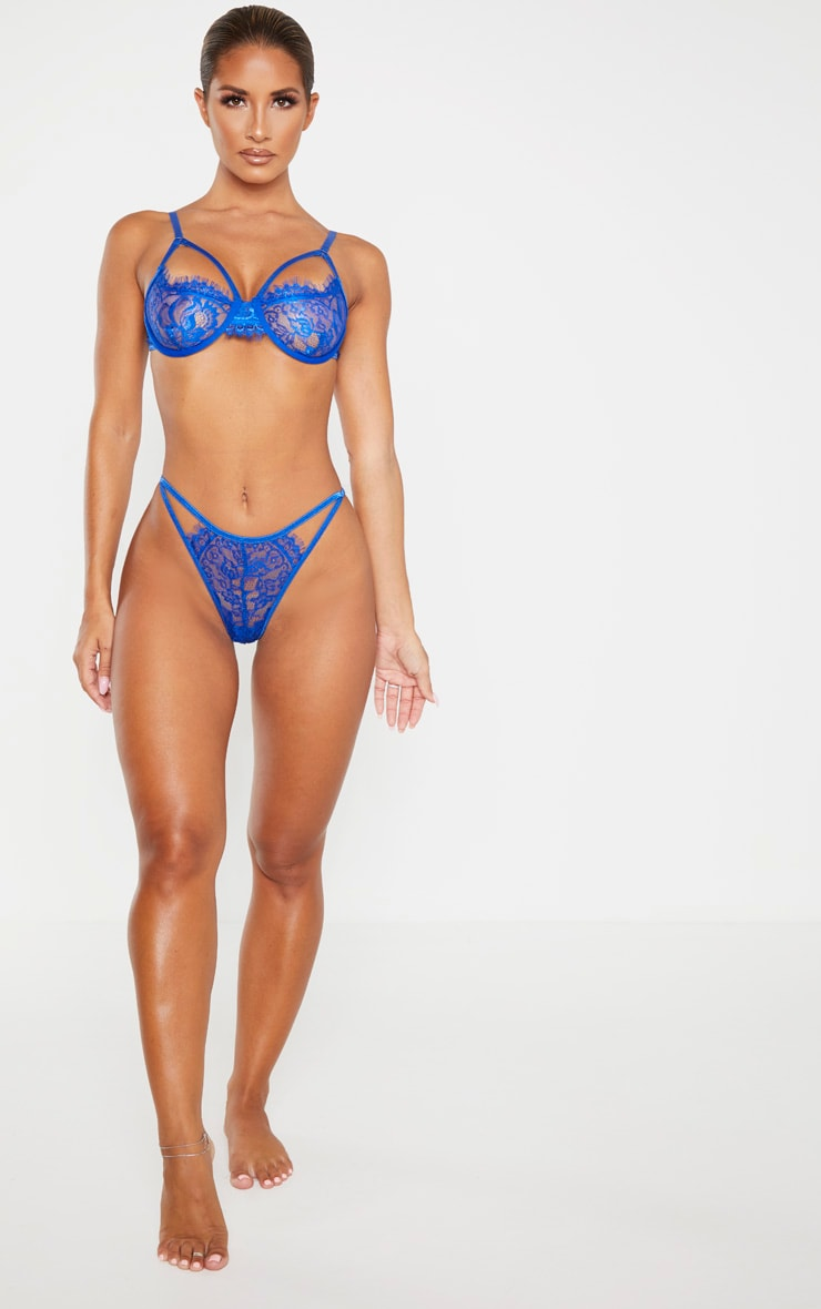 Cobalt Eyelash Lace Strappy Thong 4