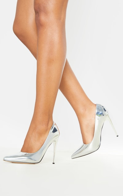 Silver Metallic Court Shoe