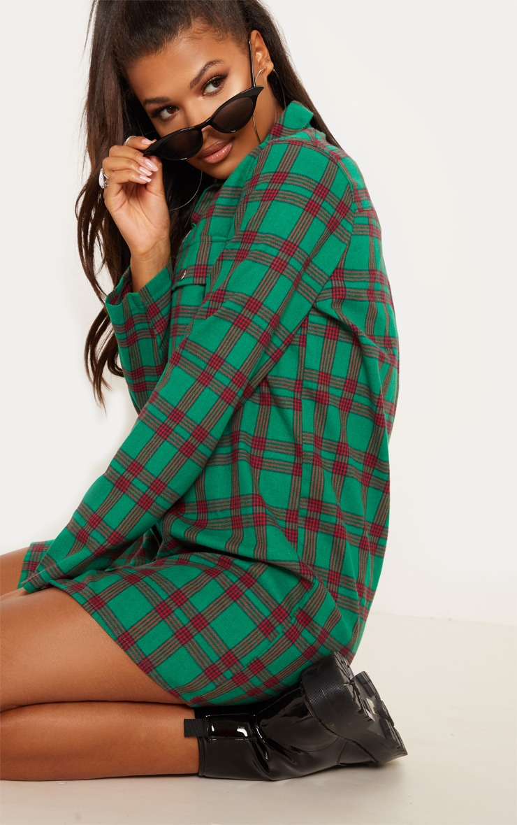 Green Oversized Check Shirt Dress 5