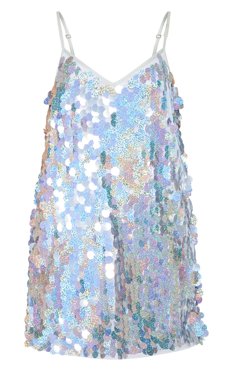 Silver Sequin Disc Shift Dress 1