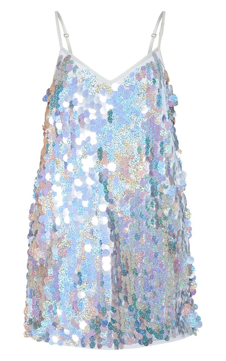 Silver Sequin Disc Shift Dress 4