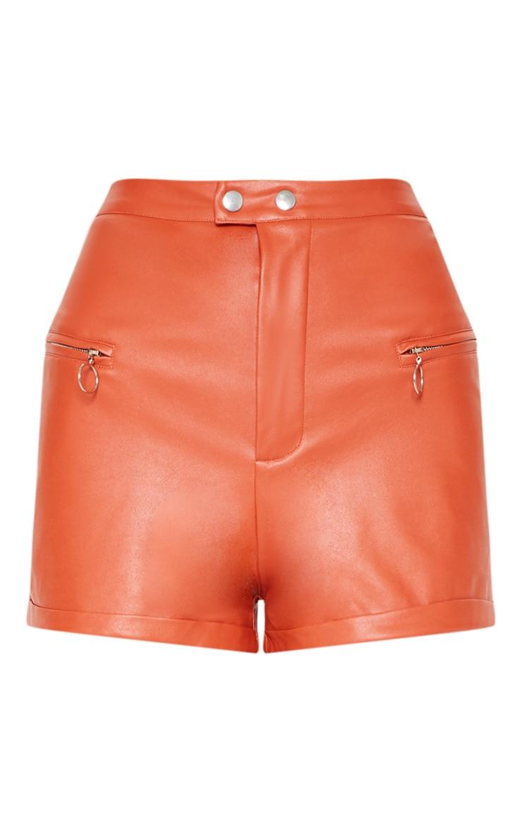 Tan Faux Leather Zip Detail Short 4