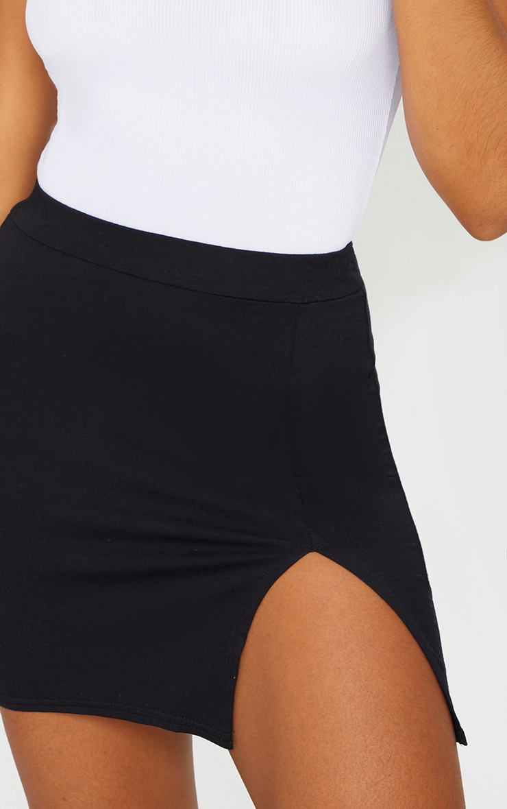 Black Jersey Side Split Mini Skirt 5