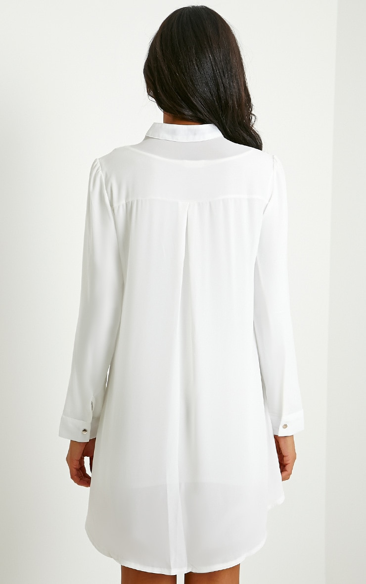 Melania White Embroidered Sheer Shirt Dress 2