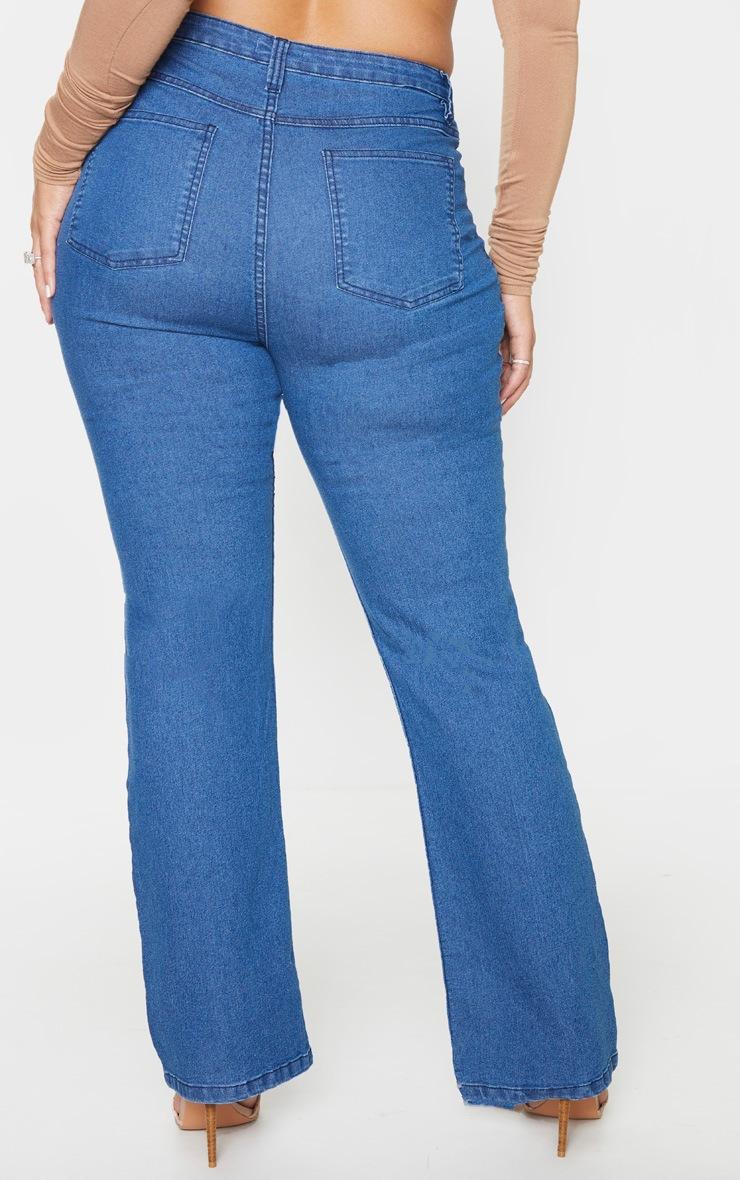 Plus Mid Blue Wash Seam Detail Wide Leg Jean 5