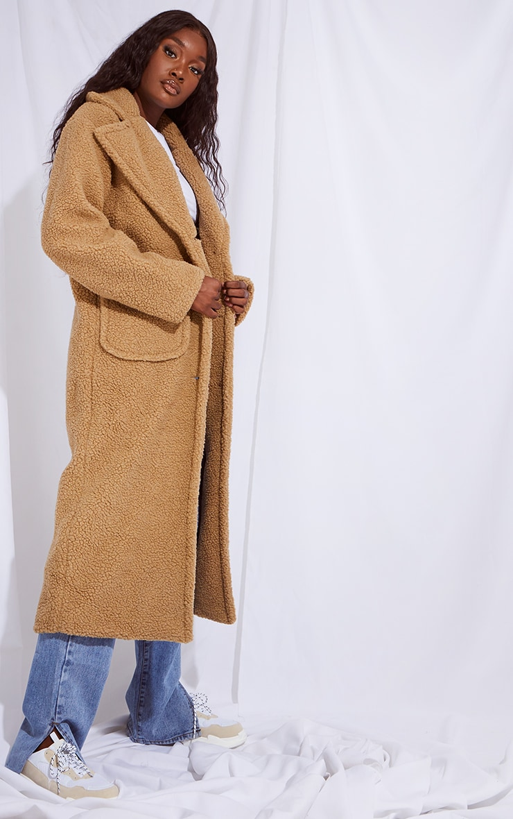 Tall Camel Maxi Borg Coat 3