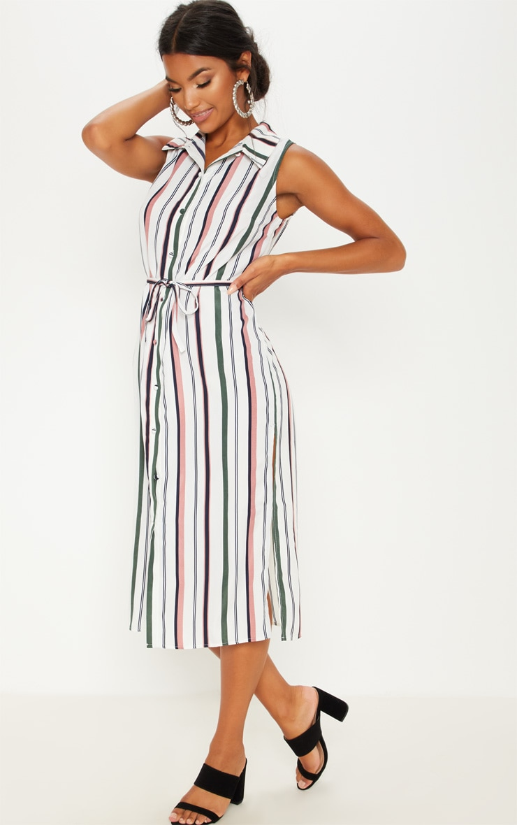 White Stripe Button Down Shirt Midi Dress 1