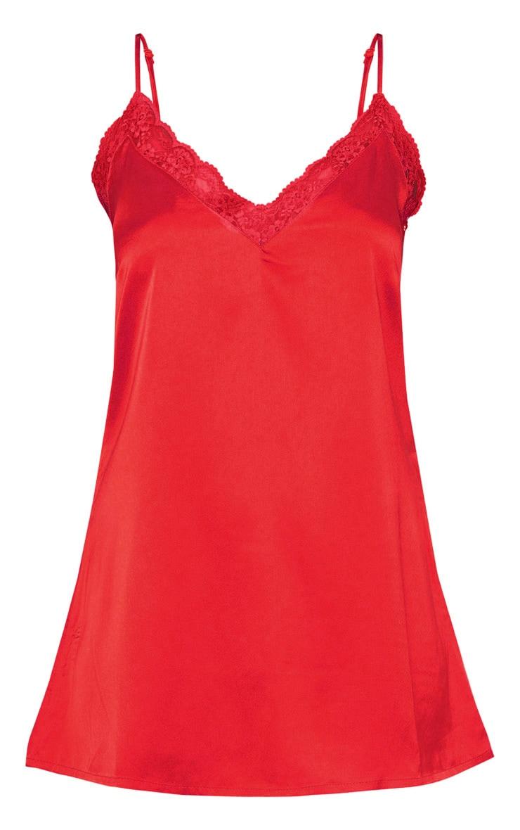 Red Lace Trim Satin Nightie 3