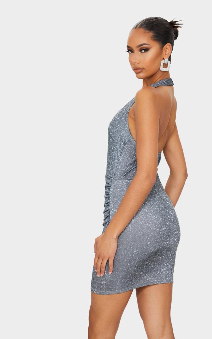 Silver Glitter Halterneck Ruched Wrap Skirt Bodycon Dress 2