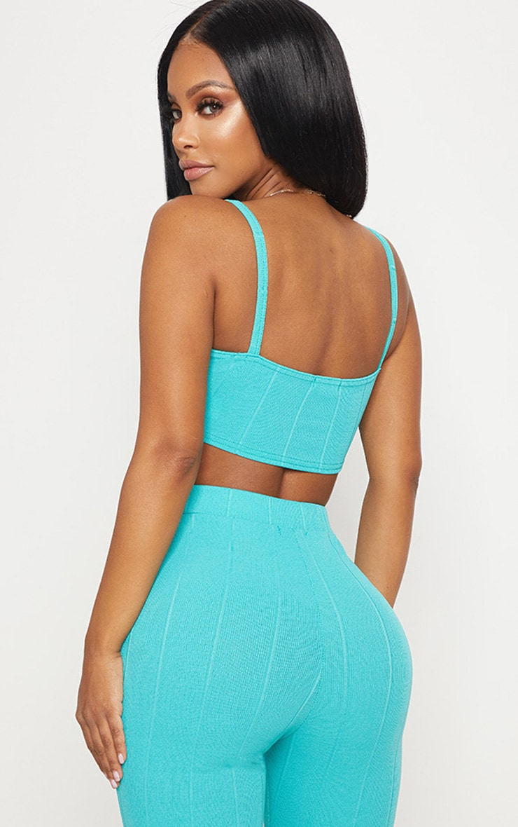 Shape Turquoise Strappy Bandage Crop Top 2