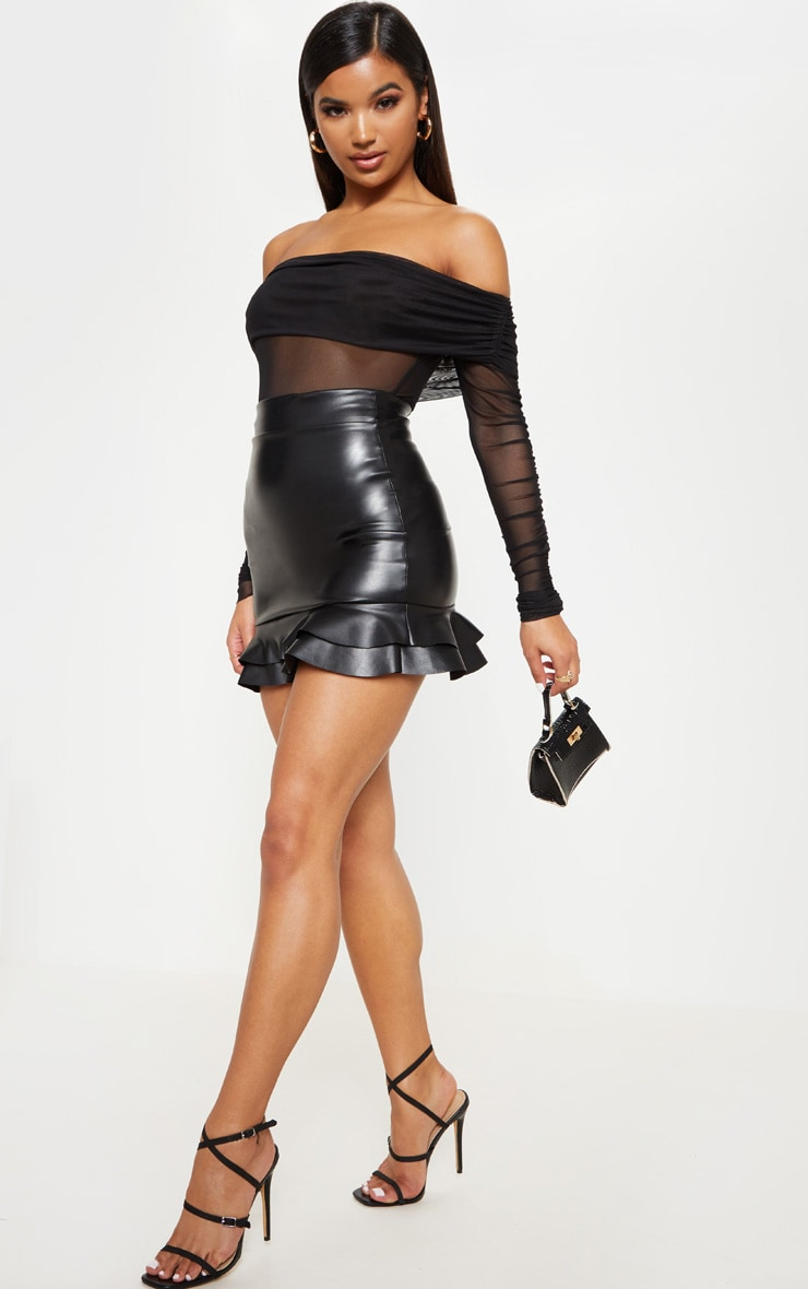 Black Faux Leather Frilled Hem Mini Skirt 5