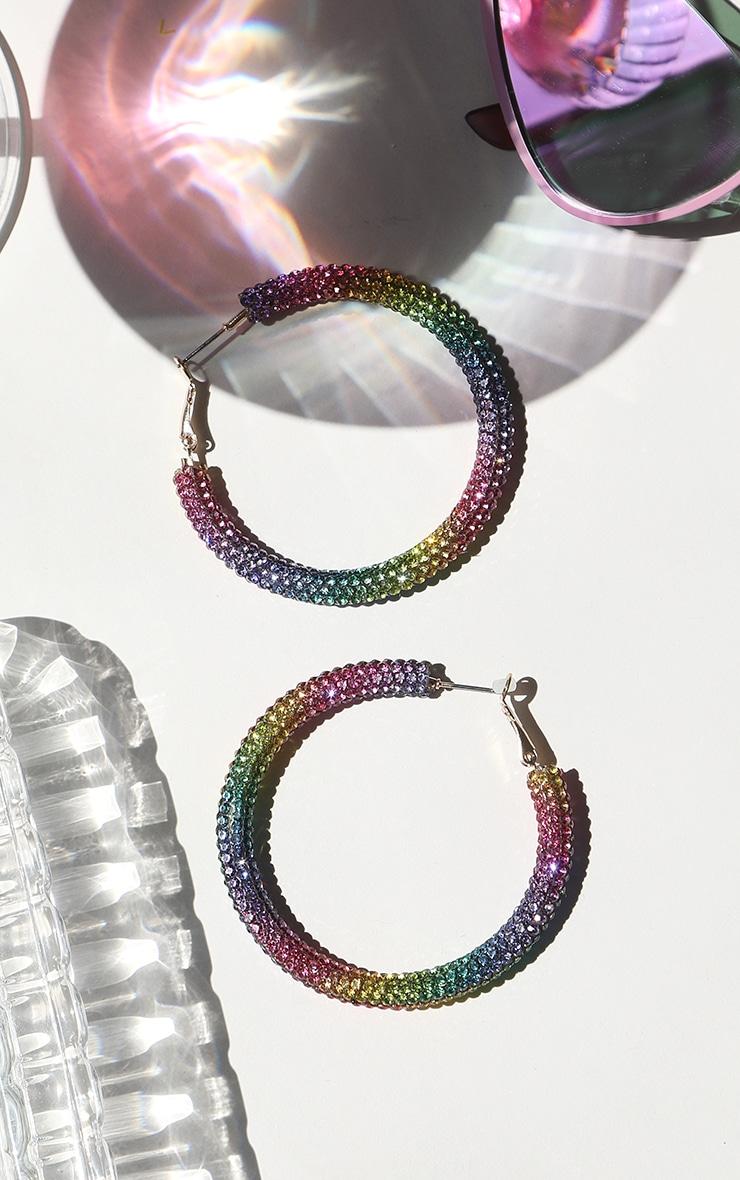 Multi Rainbow Diamante Hoop Earrings 1