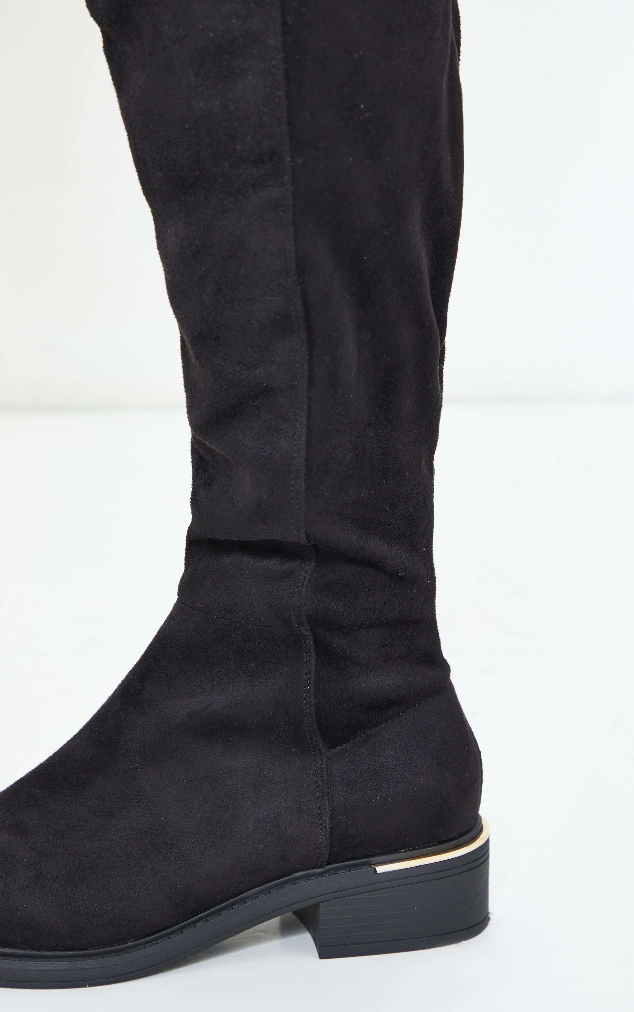 Black Wide Fit Faux Suede Knee High Boots 4