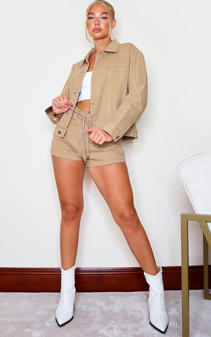 Tan Western Style Lace Up Shorts 4