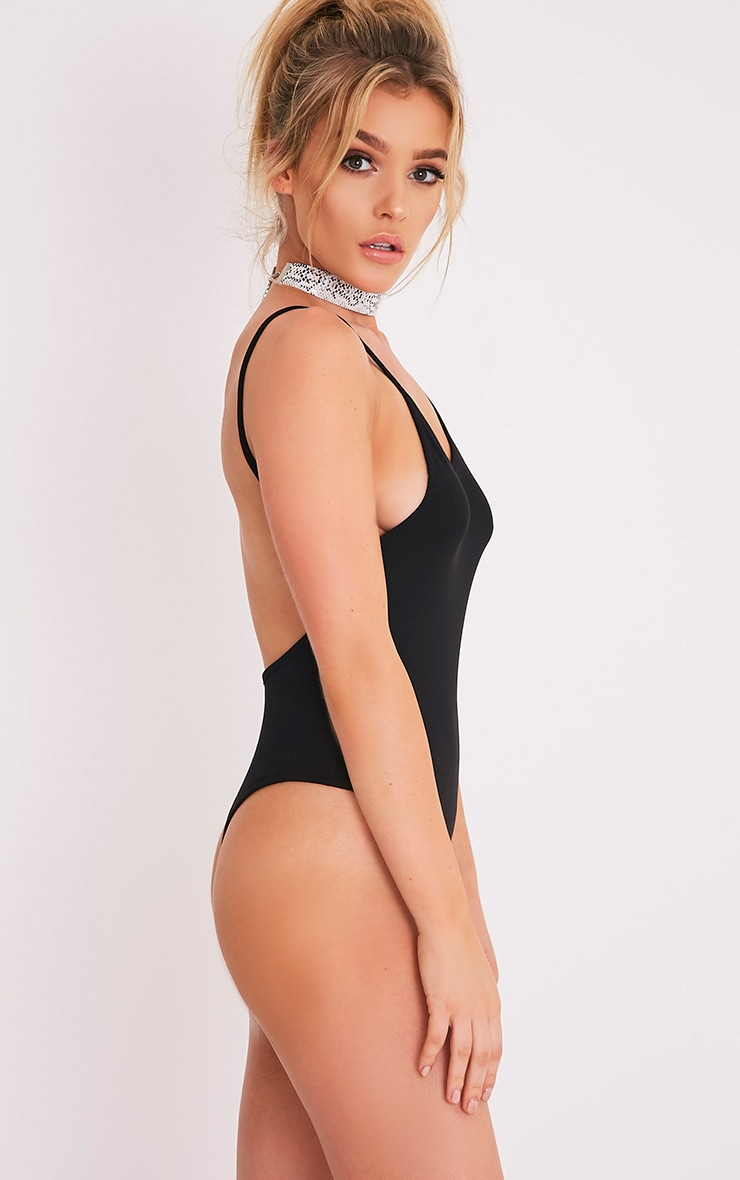 Basic Black Jersey Scoop Back Thong Bodysuit 3