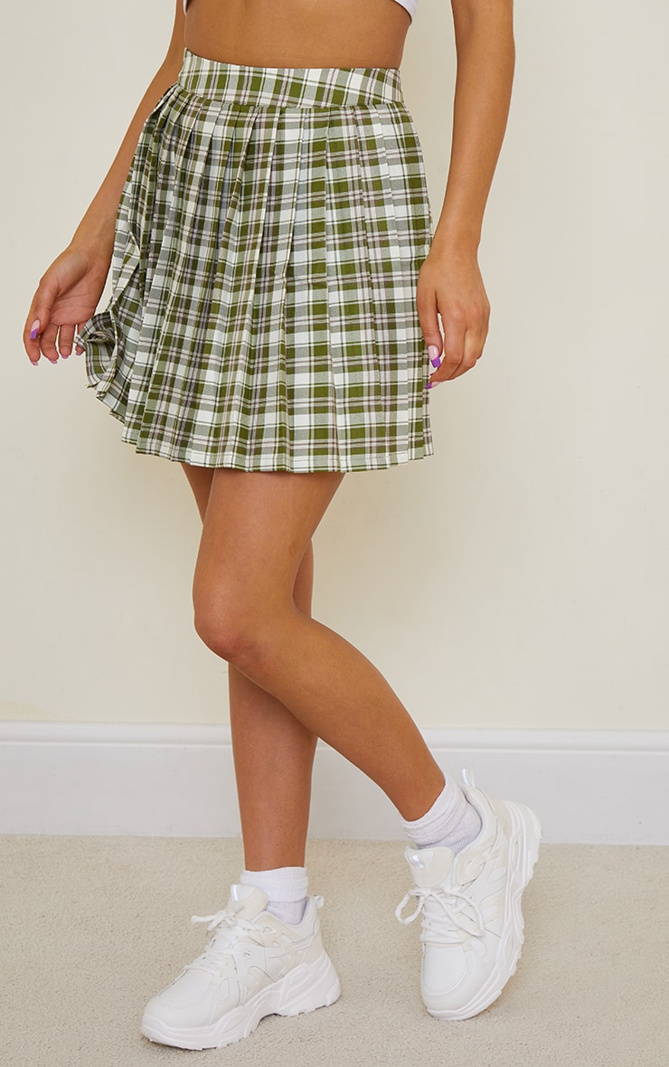 Green Check Woven Pleated Tennis Skirt 2