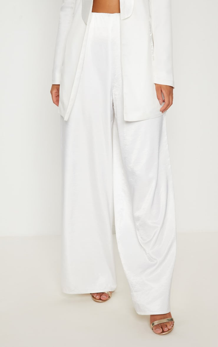 White Oversized Satin Wide Leg Trouser 2
