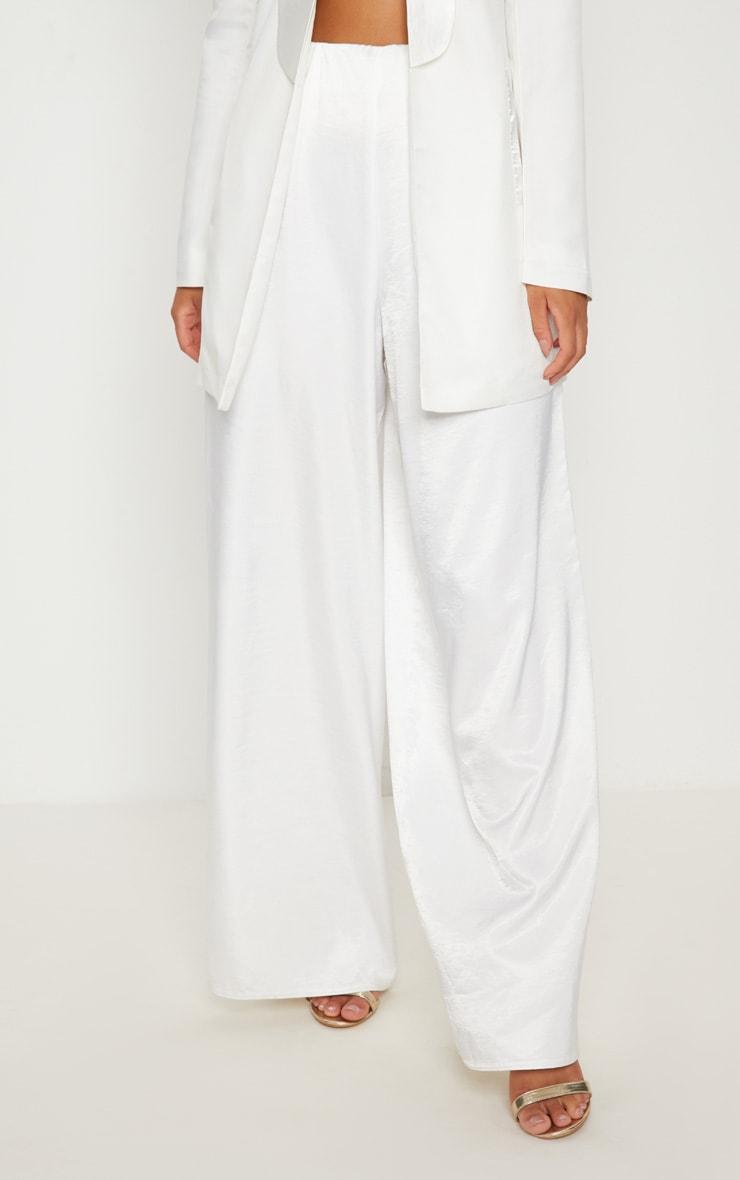 White Oversized Satin Wide Leg Pants 2