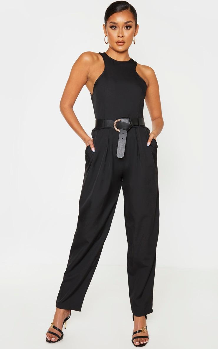 Black Racer Back Pocket Detail Jumpsuit 1
