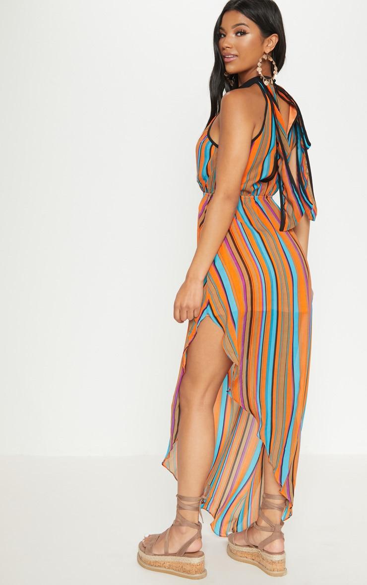 Orange Plunge Stripe Maxi Dress  2