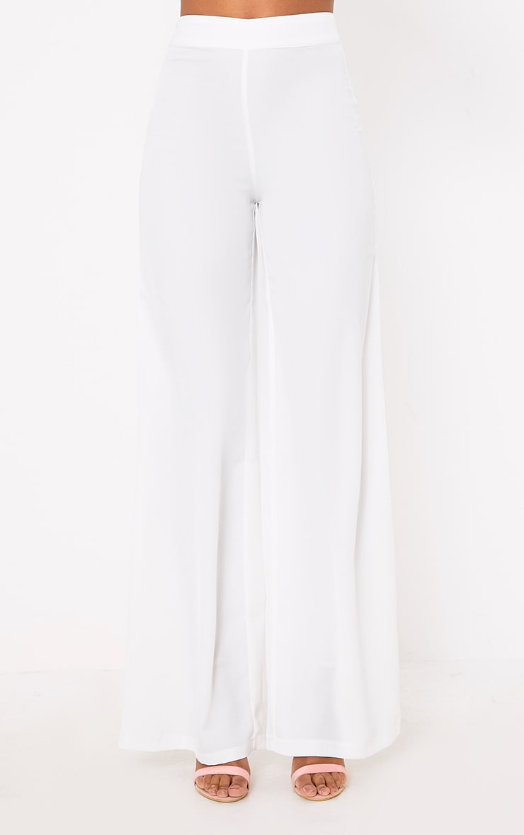 White Wide Leg Suit Pants 2