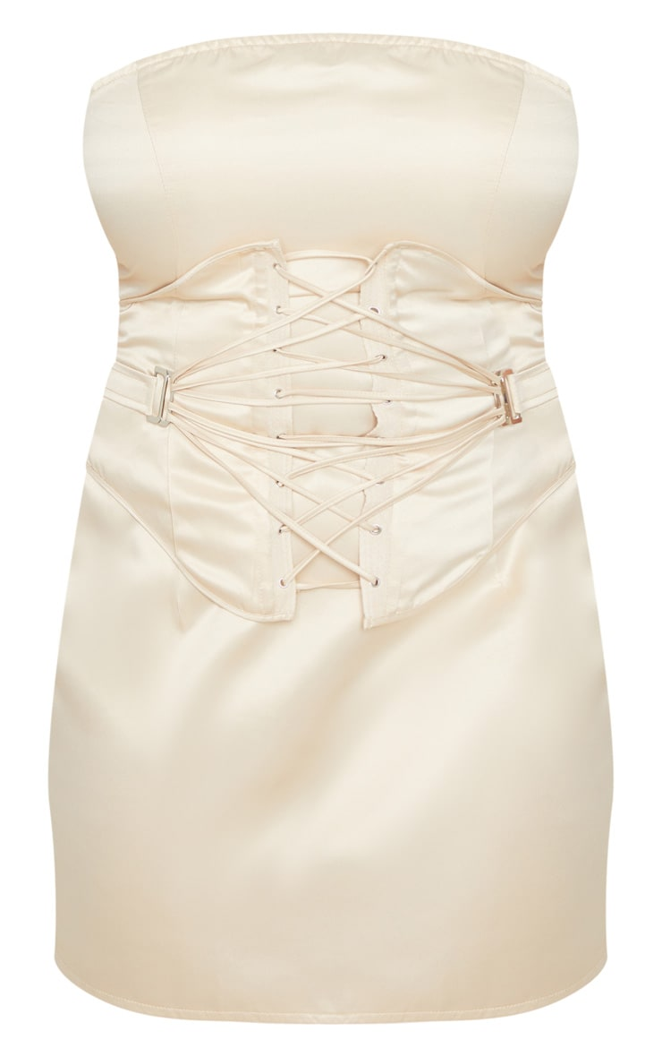 Plus Champagne Woven Bandeau Lace Up Corset Detail Bodycon Dress 3