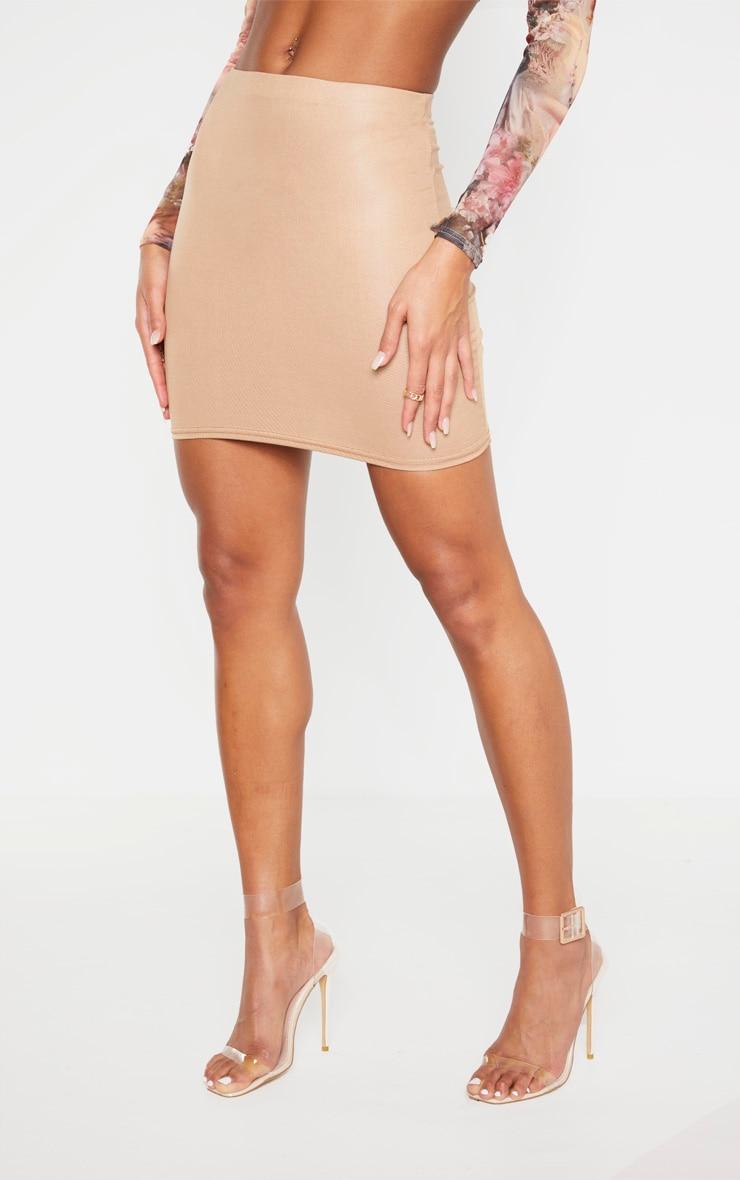 Camel Wet Look Mini Skirt 2