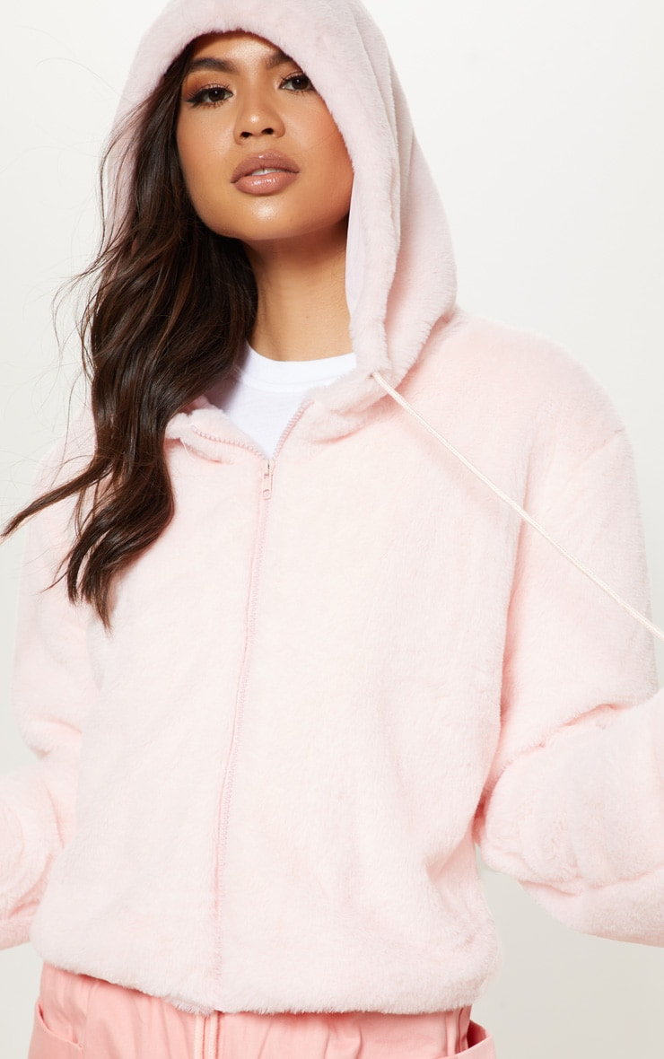 Pink Faux Fur Cropped Hooded Jacket  4