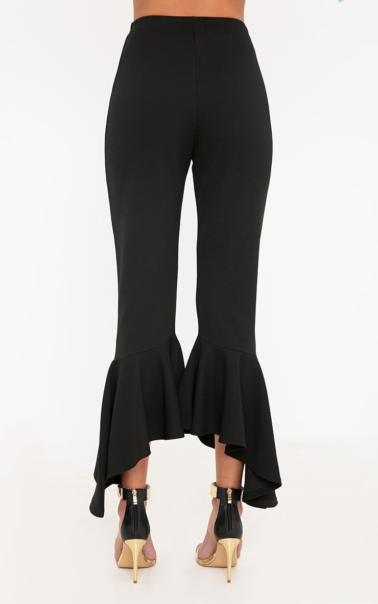 Lourdes Black Asymmetric Flare Hem Trousers 4