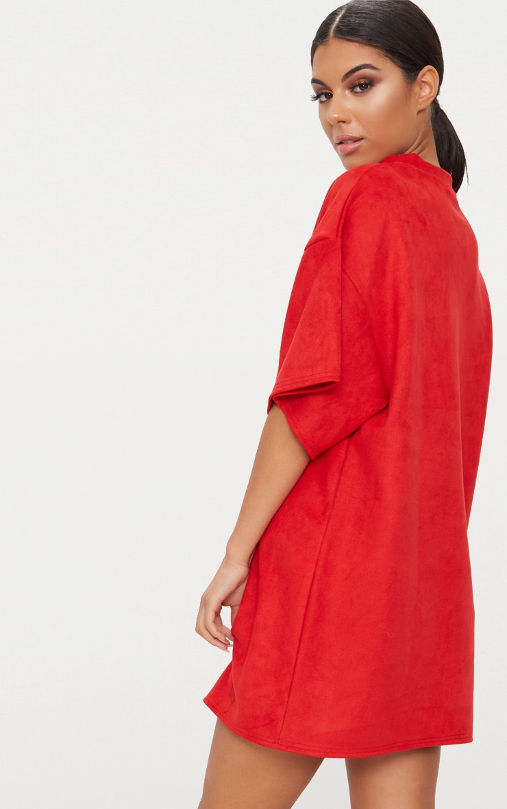 Red Faux Suede Oversized T Shirt Dress 2