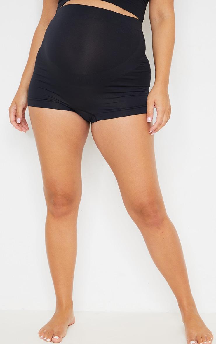 Maternity Black Seamless Bump Support Shorts 2