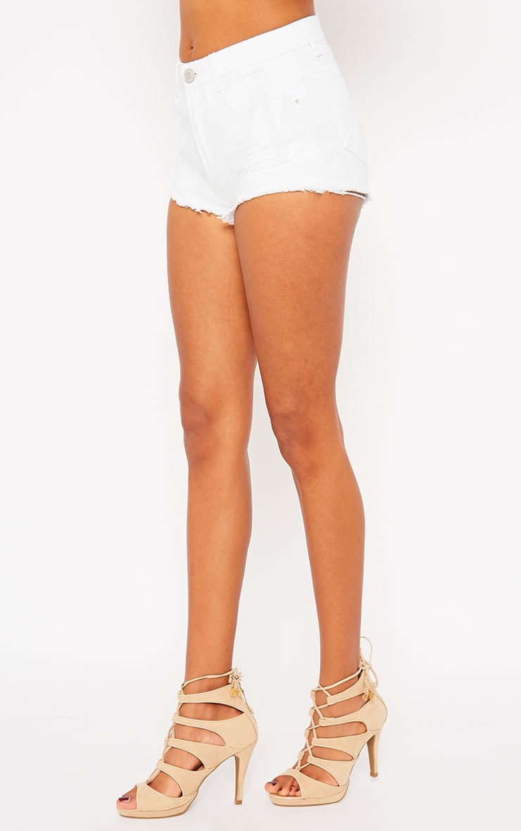 Lor White Frayed Denim Shorts 3