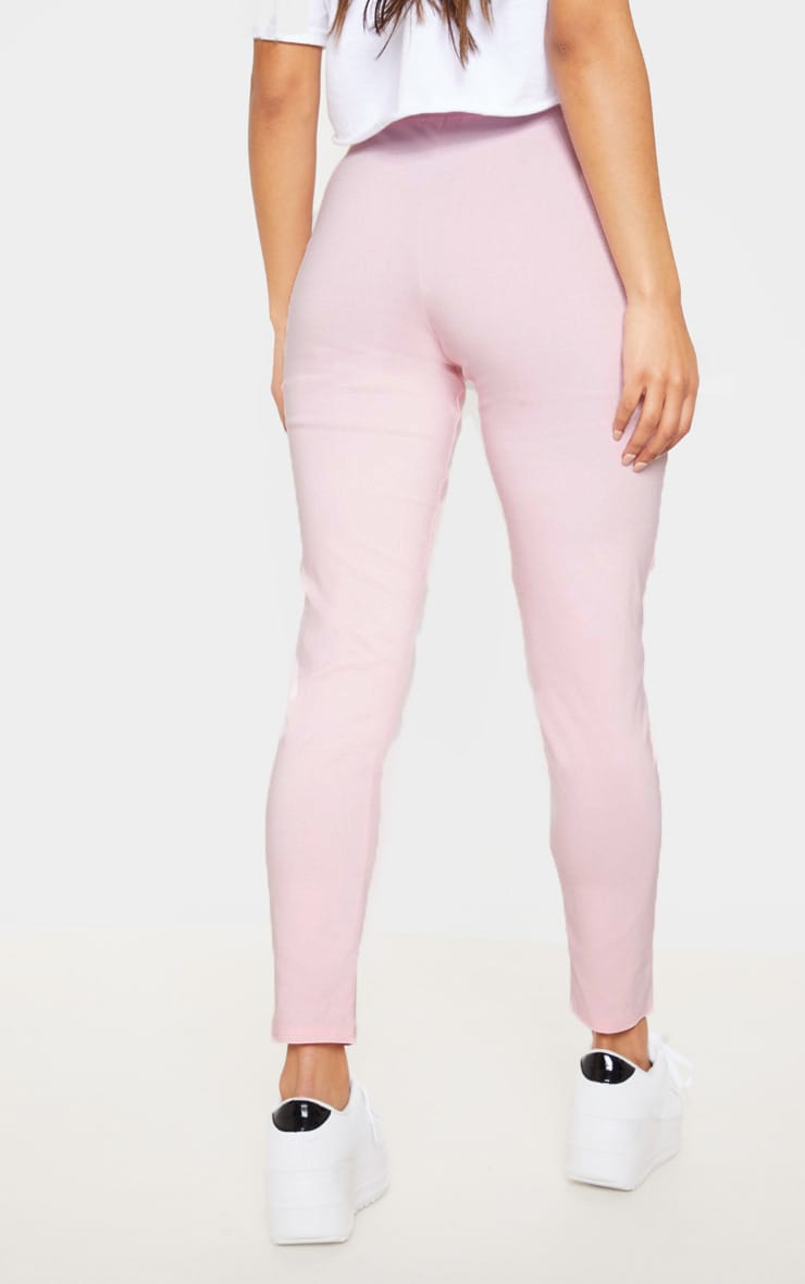 Pastel Pink Button Front High Waisted Skinny Trouser 3
