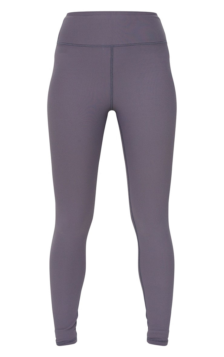 Charcoal Sculpt Ribbed Textured Gym Leggings 5