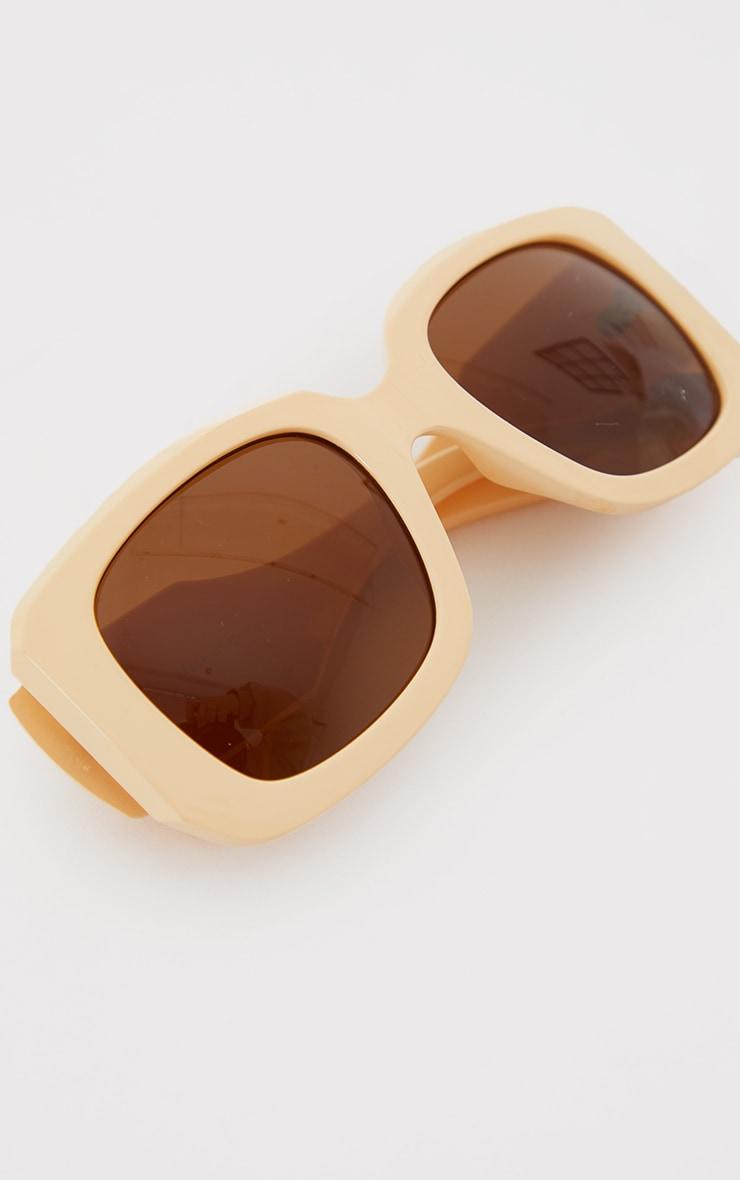 Cream Oversized Chunky Square Frame Sunglasses 2