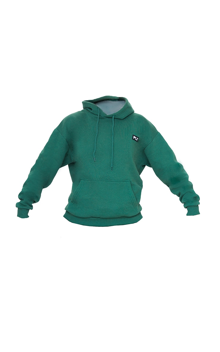 PRETTYLITTLETHING Forest Green Badge Detail Oversized Hoodie 5