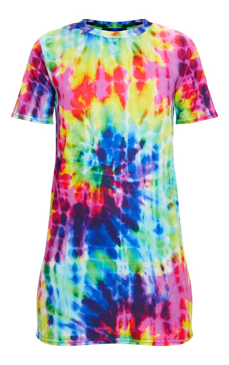Multi Tie Dye Short Sleeve T Shirt Dress 3