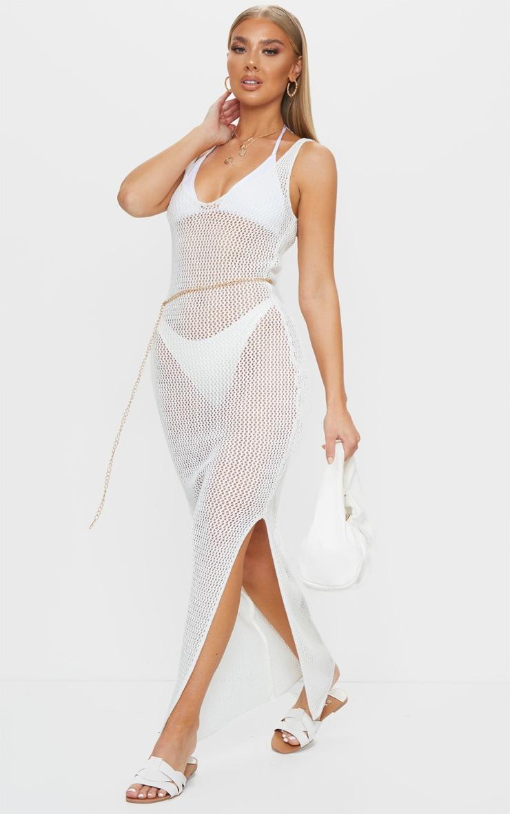 White Open Knit V Neck Side Split Midi Dress 3