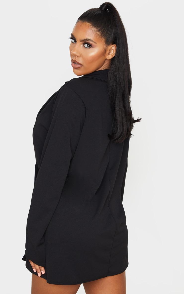 PRETTYLITTLETHING Black Slogan Oversized Blazer Dress 3